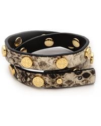 Tory Burch Double Wrap Logo Stud Bracelet Naturalshiny Brass - Lyst