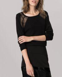 Maje Sweater Open Weave Shoulder - Lyst