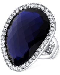 T Tahari - Silver-tone Blue Stone Crystal Stretch Ring - Lyst