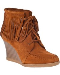 Minnetonka Lace-Up Fringe Ankle Boot Brown Suede - Lyst