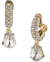 Anne Klein - Crystal Drop Clip-on Earrings - Lyst