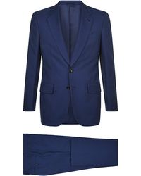 Gieves & Hawkes Blue Hopsack Suit - Lyst