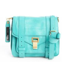 Proenza Schouler Aqua Green Leather Ps1 Pouch Buckle Strap Shoulder Bag - Lyst