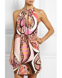 Emilio Pucci Printed Stretch-Crepe Mini Dress - Lyst