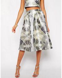 True Decadence - Silver Jacquard Midi Skirt - Lyst