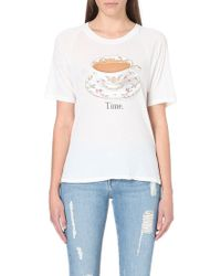 Wildfox Tea Time Cottonjersey Tshirt Vintage Lace - Lyst