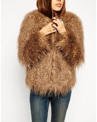 Asos Coat In Faux Mongolian Fur - Lyst