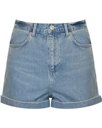 Topshop Moto Bright Blue Mom Shorts - Lyst