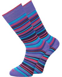 Duchamp Red Amp Purple Stripe Socks - Lyst