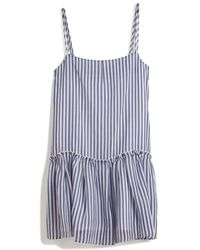 Cacharel Striped Babydoll Dress blue - Lyst