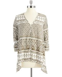 Karen Kane Multi Patterned Sharkbite Top - Lyst