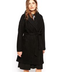 Just Female Belted Coat With Oversized Collar - Lyst