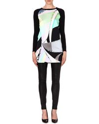 Emilio Pucci Silkpanel Knitted Dress Green - Lyst