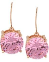 Betsey Johnson Rose Goldtone Pink Crystal Drop Earrings - Lyst