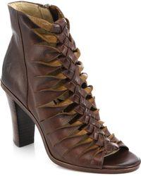 Frye Sofia Braided Leather Sandals brown - Lyst