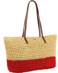Bikini.com - Crochet Tote In Tan & Red - Lyst