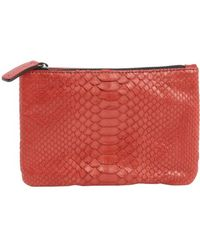 Abaco - Rouge Leather Python Accent 'zoe' Zipper Clutch - Lyst