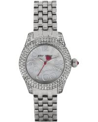 Betsey Johnson Silver Tone Watch with Crystal Bezel - Lyst