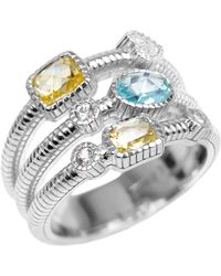 Judith Ripka Canary & Sky Blue Crystal White Sapphire Three-Band Sterling Silver Ring - Lyst