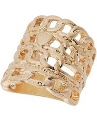 TOPSHOP - Chain Row Ring - Lyst
