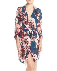 Band Of Gypsies - Lace Back Floral Robe - Lyst