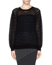 Sandro Stone Open Knit Stripe Sweater - Lyst