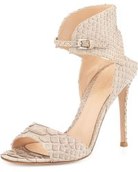 Gianvito Rossi Snake-embossed Leather Ankle-cuff Sandal - Lyst
