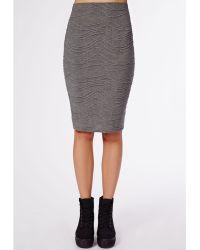 Missguided Teresssa Textured Jersey Midi Skirt Grey - Lyst