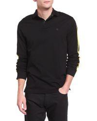 Ralph Lauren Black Label   Long-sleeve Pique Polo Shirt With Contrast Trim   Lyst