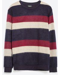 Zara | Striped Faux Fur Sweatshirt | Lyst