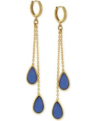 Vince Camuto - Gold-plated Blue Stone Double Drop Earrings - Lyst