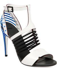 Fendi Colorblock Cage Sandals white - Lyst