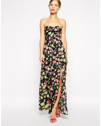 Asos Bandeau Floral Maxi Dress - Lyst