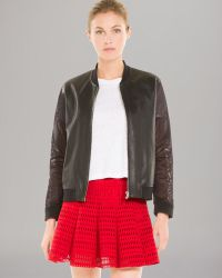 Sandro Jacket Vie Leather Mesh Sleeve - Lyst