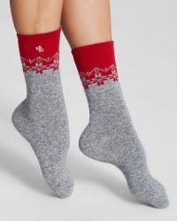Ralph Lauren Blue Label - Cashmere Colorblock Snowflake Trouser Socks - Lyst
