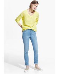 Mango Yellow Openwork Sweater - Lyst
