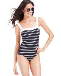 INC International Concepts - Striped One-Piece Swimsuit - Lyst