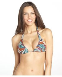 Vix Orange and Turquoise Sequined Belize Triangle Bikini Top - Lyst