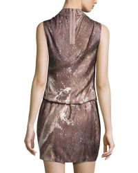 Halston Sleeveless Draped Print Dress - Lyst