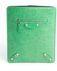 Balenciaga Green Distressed Leather Tablet Case - Lyst