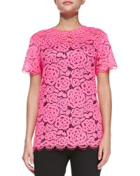 DKNY Shortsleeve Floral Lace Top - Lyst