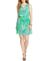 Ralph Lauren Lauren Plus Paisley Print Georgette Dress - Lyst