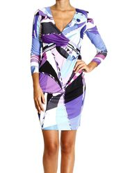 Emilio Pucci Long Sleeve V Jersey Print Astana Dress  - Lyst