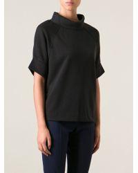 By Malene Birger High Neck Short Sleeve Sweatshirt - Lyst
