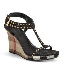 Burberry 'Harbeton' Wedge Sandal - Lyst