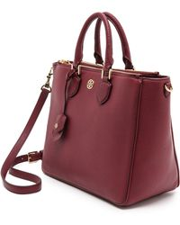 Tory Burch Robinson Pebbled Square Tote  Deep Berry - Lyst