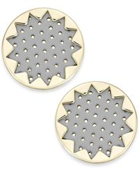 House Of Harlow Gold-tone Patent Leather Sunburst Button Earrings - Lyst
