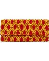 Akira Black Label - Leaf Pattern Coral Yellow Seed Bead Foldover Clutch - Lyst