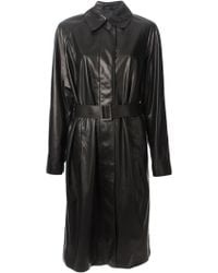 Bottega Veneta Leather Belted Trench Coat - Lyst