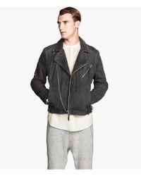 H&M Suede Biker Jacket - Lyst